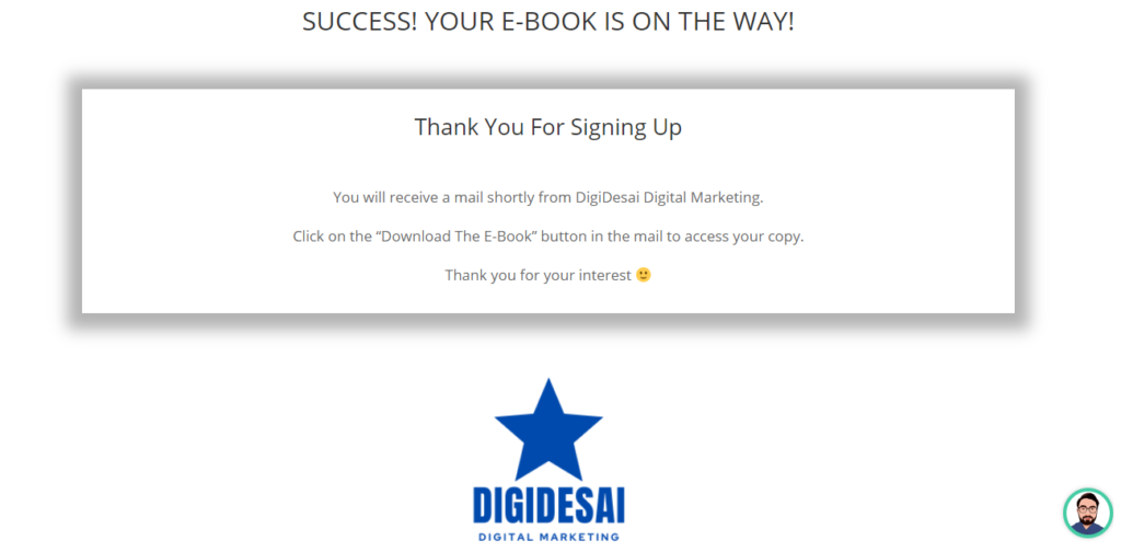 thank you page of ebook